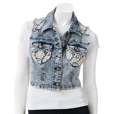 Tinseltown Crochet Crop Vest - Juniors