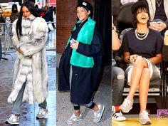 NEW BALANCE SNEAKERS  photo | Rihanna | Get the Look Here: New Balance Sneakers http://www.wantering.com/womens-clothing-item/new-balance-410-gray-sneakers/adaSc/