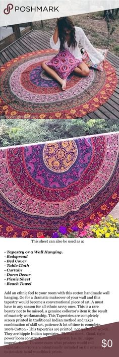 """Boho Mandala Cotton Throw 72"""" Round NWT! This is a beautiful mandala that measures 72"""" round and is 100% cotton. NEW! Other"""