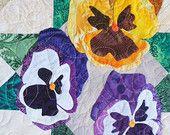Quilt Pattern - Pansy Applique Art Quilt - Immediate Download PDF