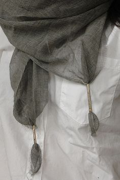 Damir Doma Silk Linen Metal Tipped scarf  oh that detail...