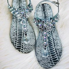 Rhinestone Embellished Thong Sandals