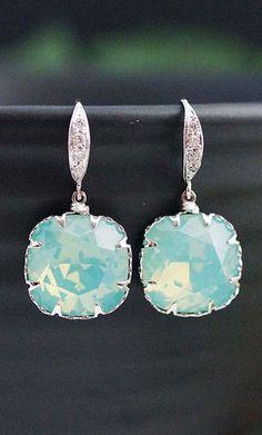 Bridesmaid Earrings Mint Pacific Opal Swarovski square Crystal drop