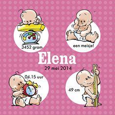 Een grappig geboortekaartje met cartoons van een zotte baby. Wat een grapjas!