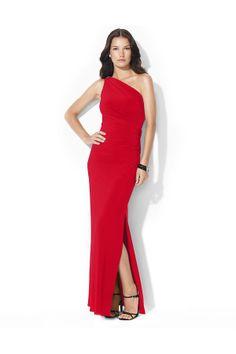 Lauren Ralph Lauren Floor-Length One-Shoulder Brooch Dress Parlor Red
