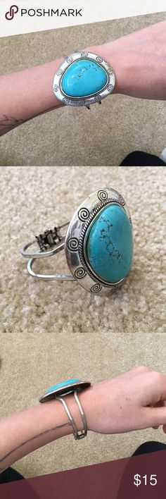 Turquoise Silver Bracelet Turquoise and silver bangle bracelet from Anthropology. Brand new, never worn. Anthropologie Jewelry Bracelets