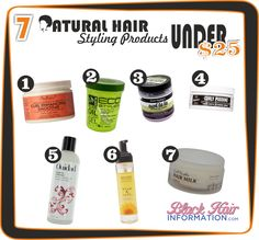 7 Brilliant Natural Hair Styling Products Under $25  Read the article here - http://www.blackhairinformation.com/by-type/natural-hair/7-brilliant-natural-hair-styling-products-under-25/