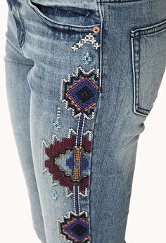 Sweet Tribal Pattern Skinny Jeans | FOREVER 21 - 2000110682