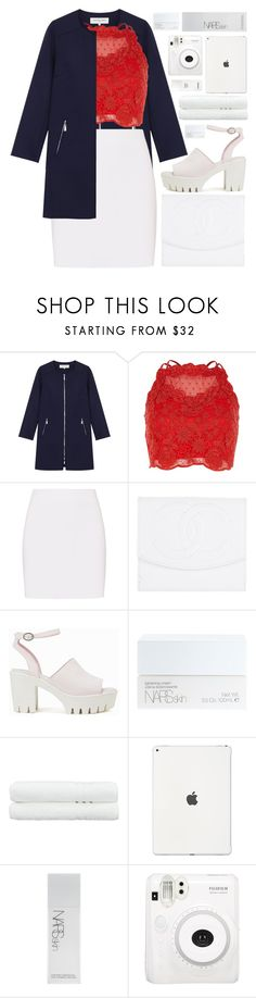 """""""elegance (pray for london)"""" by charli-oakeby ❤ liked on Polyvore featuring Gérard Darel, River Island, Helmut Lang, Chanel, Nly Shoes, NARS Cosmetics, Linum Home Textiles, Fuji, country and PrayForLondon"""