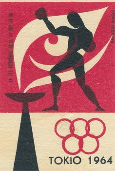 image from the Mid Century Modern - Sticker, Label and Stamp Group on Flickr. This is from maraid's photostream (3,867); tags on his photos are:   boxing, matchbox, label, packaging, polish, poland, sport, tokyo, + a full range of olympics images e.g. flame, torch, rings, etc.
