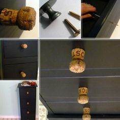 25 Recycling Ideas to Add Unusual Handmade Knobs and Pull Handles to Interior Decorating Diy Upcycled Dresser, Drawer Handles, Pull Handles, Old Cabinets, Kitchen Cupboards, Cupboard Knobs, Dresser Knobs, Interior Decorating Styles, Decorating Ideas