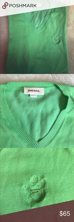 Diesel light cotton v-neck sweater Perfect for summer light lime color sweater to put on your shoulder and wear when it get cooler. In great condition Diesel Sweaters V-Neck
