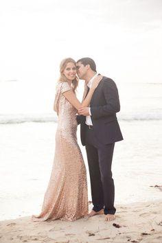 Blush Sequin Column Dress | Blackbird Foto | Styling a High Fashion Engagement Shoot