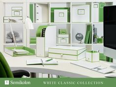 Semikolon White Classics Collection Letter/A4 Size Document Storage Box, Lime Accents: Amazon.ca: Office Products