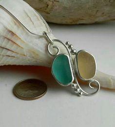 Peach/teal sea glass pendant artisanseaglassjewelry.com