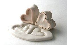Small Heart DoubleSided Stamp Outline Heart and Deep by GiselleNo5, $25.00