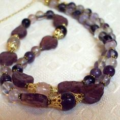 Rainbow Fluorite and Czech Glass Leaf 18 inch (~46 cm) Gold Necklace | Alisuns - Jewelry on ArtFire