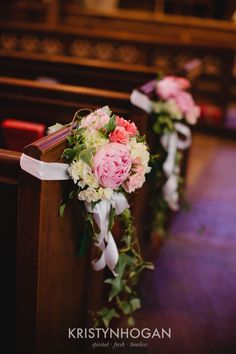 Pink Peony Flowers on Church Pews, Wedding Ceremony in Nashville, Flowers by Enchanted Florist, Photo by Kristyn Hogan