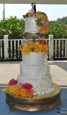 Enchantes garden-Ivory&gold-Ruffles&Roses-Wedding cake-The Cake Zone-Florida   by The Cake Zone - Rated top 3 Florida's Best Bakery