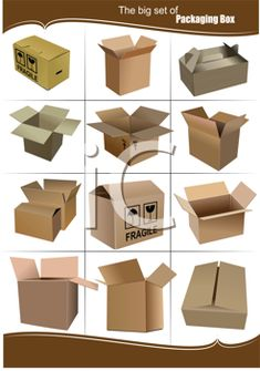 iCLIPART - Big Set of carton packaging boxes isolated over a white background