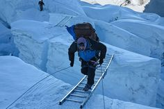 Dispatch #8: Tragedy on the Mountain  POSTED APRIL 21, 2012  At dawn, a Sherpa runs uphill across a ladder spanning a crevasse at the top of the Khumbu Icef