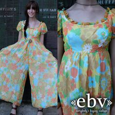 #Vintage #70s #Floral #Hippie #Palazzo Bell Bottoms #Jumpsuit #Romper XS S by shopEBV on Etsy, $58.00