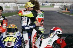 Valentino Rossi MotoGP 2008 Champions, hugging Marco ' Sic ' Simoncelli