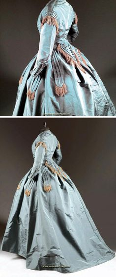Day dress, Mme. Roger, probably French, ca. 1865. Petrol blue silk ottoman trimmed with fringe in thick cream-colored silk. Thierry de Maigret