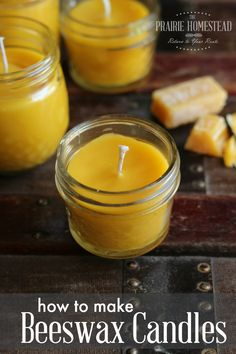 I didn't realize it was this easy to make beeswax candles-- it's pretty much melt and pour. And you can use any sort of cute container you have laying around.