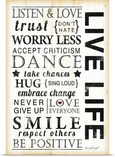 """Inspirational typography wall art - """"Live Life"""" by Jennifer Pugh available at Great BIG Canvas. Great Quotes, Quotes To Live By, Inspirational Quotes, Life Quotes, Pomes, Canvas Quotes, Typography Inspiration, Life Photo, Family Quotes"""