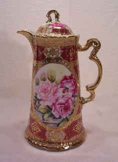 Antique Nippon Porcelain Roses Chocolate Pot with Gold Beading