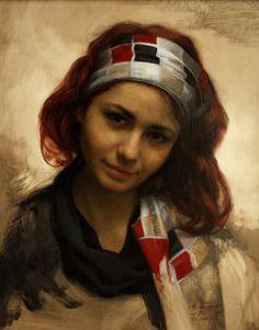 César Santos Nude Portrait, Oil Portrait, Woman Portrait, Woman Painting, Figure Painting, Cesar Santos, Contemporary Paintings, American Artists, Woman Face