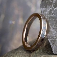 Rose Gold Fossil Ring Dinosaur Bone Wedding Band Fossil