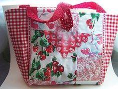 Red Strawberries Vintage Tablecloth Quilted Doodaba Handbag Tote Bag | eBay