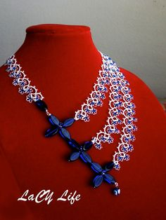 "Items similar to Asymmetrical Tatted Lace ""Forget Me Not"" Necklace, Royal Blue Bead Unique Tatting Necklace and Earrings Set on Etsy"