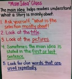 main idea anchor chart @Ashley Walters Walters La Berge