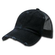 8e8c61021bd Black Vintage Distressed Mesh Trucker Baseball Cap Caps Hat Snapback Snap  Back  Decky  BallCap