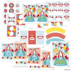 Carnival Party Theme - Instantly Downloadable and Editable File - Personalize at home with Adobe Reader on Etsy, $15.00