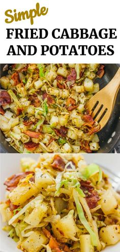 This is a really easy fried cabbage and potatoes recipe with crispy bacon. Only six ingredients and one pan needed. soup, recipes, rolls, p. Fried Cabbage And Potatoes, Fried Cabbage With Sausage, Fried Cabbage Recipes, Kielbasa And Cabbage, Southern Fried Cabbage, Sauteed Cabbage, Southern Cabbage Recipes, Fried Potatoes, Roasted Potatoes