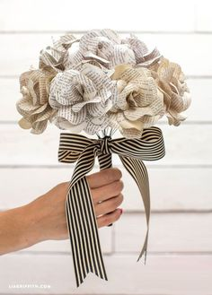 Paper Flower Bouquet made with Vintage Book Pages