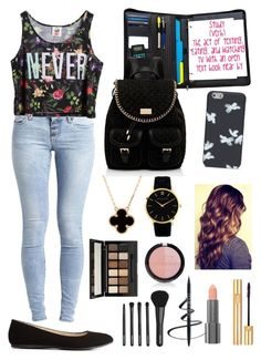 """""""School"""" by legitromo ❤ liked on Polyvore featuring Charlotte Russe, Object Collectors Item, Chicnova Fashion, Forever New, Marc by Marc Jacobs, Larsson & Jennings, Van Cleef & Arpels, Yves Saint Laurent, Forever 21 and Easy Spirit"""