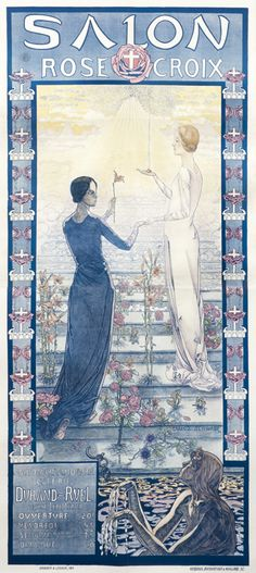 Carlos Schwabe, Art Exhibition Poster (with pastel), France, 1892. (This poster has been colored in pastels by one of its former owners.)