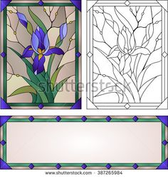 Beautiful garden flowers and bouton of Iris, floral vector composition. set of stained glass window Beautiful garden flowers and bouton of Iris, floral vector composition. set of stained glass window Glass Painting Patterns, Stained Glass Patterns Free, Glass Painting Designs, Stained Glass Quilt, Stained Glass Flowers, Stained Glass Designs, Stained Glass Panels, Stained Glass Projects, Mosaic Art