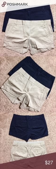 J. Crew BUNDLE!!! 2 blue & tan Chino Shorts!! Sz 8 J. Crew BUNDLE!!! Two Chino shorts, size 8. Colors: dark blue and tan. Perfect for summer!!! Come from a smoke free home. J. Crew Shorts