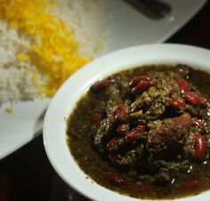 ''qorme sabzi'' is one of the favorite iranian food made from especial vegtables,meat and been.serve with rice.
