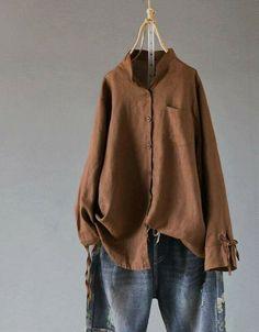 332e967f073 Bow-Tie Button Down Long Sleeve Women Solid Color Cotton Linen Loose Shirt   fashion