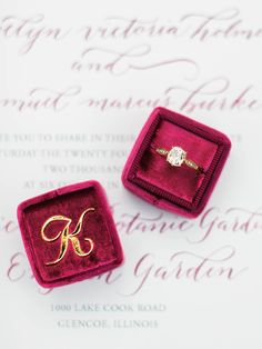 Engagement Ring in a Vintage Velvet Ring Box with a Gold Monogram