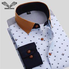Tienda Online VISADA JAUNA camisa de los hombres de negocios Floral diseño Casual de algodón de manga larga ropa de marca de alta calidad Camisetas Hombre Camisas N766 | Aliexpress móvil