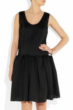 LANVIN DRESS-SMALL- FR 36-UK 8-RRP £2025-MESH BLACK - SHORT-PLEATED-WINTER 2013