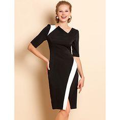 TS cuello asimétrico Contraste Color Jersey Dress – EUR € 16.50